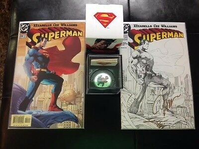 SUPERMAN #204 SIGNED SKETCH COVER- w/ 1oz 99.99% Silver Coin (Comic Book Covers)