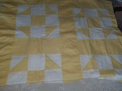 Yellow 66x82 inch antique quilt top hand stitched 1900s