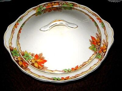 Creampetal Grindley England Autumn Leaves & Flowers Table Service Lge Dish w Lid