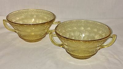 "2 Federal PATRICIAN AMBER * 4 3/4"" CREAM SOUP BOWLS*"