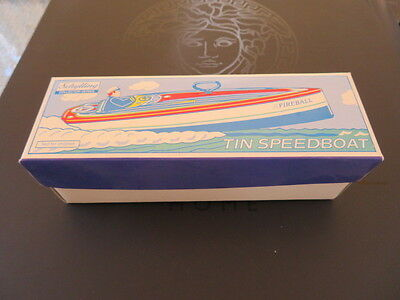 """Schylling Tin Wind-up Speedboat """"FIREBALL"""" Reproduction Toy w/Box Vintage 1996"""