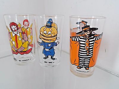 Early Set of 3 Vintage McDonald's Collector Drinking Glasses Ronald Mc Donald