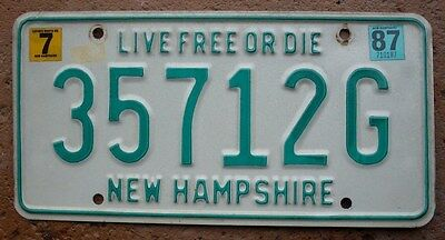 1987 New Hampshire Licence Plate all embossed Live Free or Die tag 35712G