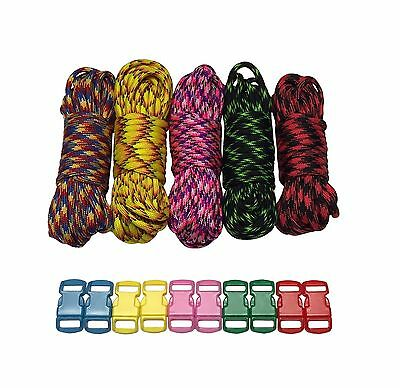 100 ft Patterns Paracord Bracelet Kit w 10 Multicolored Paracord Buckles