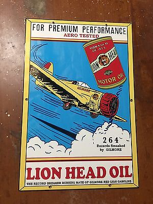 "Error Gilmore Lion Head Motor Oil Gasoline Metal Gas Pump Sign, Auto 18"" Vintage"