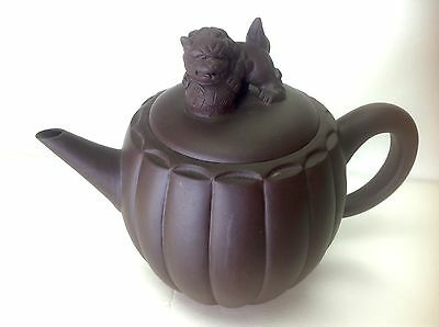 Vintage Red Clay Chinese Teapot- Lid w/ Foo Dog Handle- No Damage- 👌