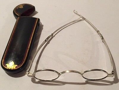 Antique Coin Silver Curtis And Stiles Spectacles with Sliding Temples And Case