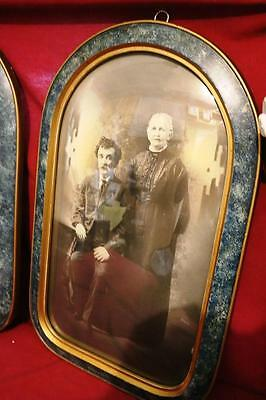 """1910s 20s  Antique DOMED CONVEX BUBBLE GLASS WOOD FRAME 22"""" X 14"""" Rare pair"""