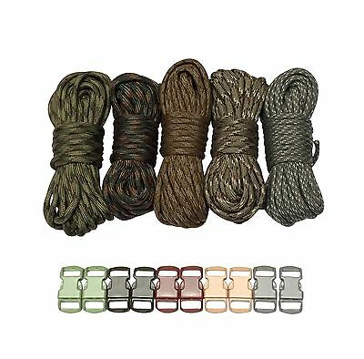 100 ft Camo Paracord Bracelet Kit w 10 Multicolored Matching Paracord Buckles