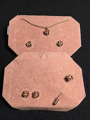 Vintage Estate Necklace and 2 sets of Earrings and Stick Pin Gold-Tone Costume