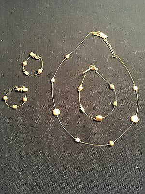 Vintage Estate Necklace, Earrings and Bracelet set Gold-Tone Napier signed