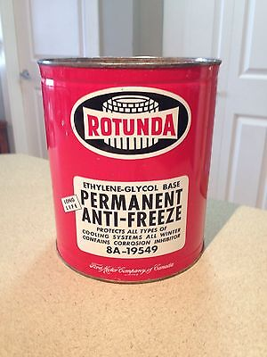 Ford Rotunda 1 Gallon Anti Freeze Can Vintage Canada Collectible Very Clean