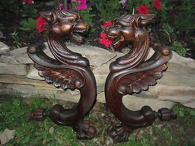Antique Griffin Carvings 2 Horner Sideboard Winged Lion