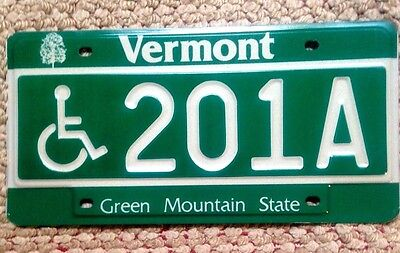 MINT 1980s VERMONT WHEELCHAIR HANDICAPPED DISABLED LICENSE PLATE AUTO TAG # 201A