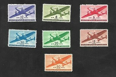 US Stamps SC# C25-C31 Airmail Transport Plane MNH 1941-44