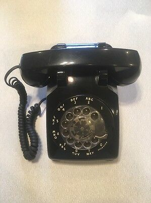 Vintage Bell System Western Electric Black Rotary Desk Phone Telephone