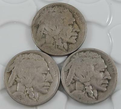 1924 P D & S Indian Head Buffalo Nickel 5 Cent 3 Coin Set Lot A0518
