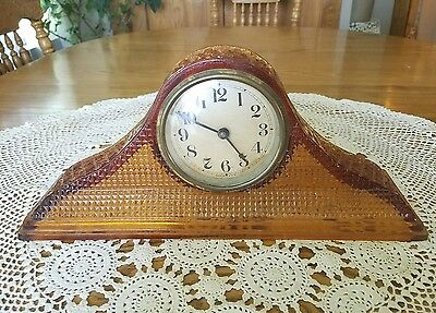 "1920's Antique McKee Amber Tambour Art Glass Mantle Clock 14""x6"""