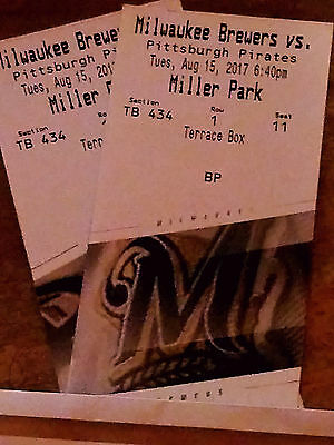 (2)milwaukee brewers vs Pittsburgh on Tuesday, August 15