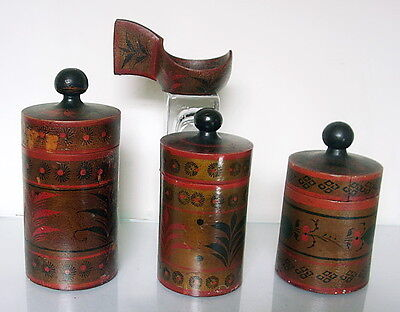 RUSSIAN collection 3 carved & painted tea boxes & kovsh c1900 made in Russia
