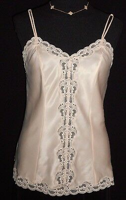 USA M VinTage Christian Dior Satin Cami Pink Dbl Spaghetti Straps Lace Buttons