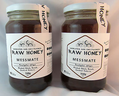 Raw Honey, Messmate, Twin Pack,  2 * 500gms, (1 kilo total) free shipping