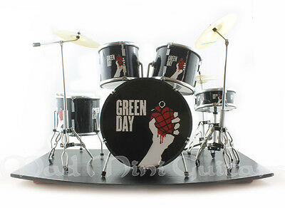 Miniature Drum Kit Set GREEN DAY with stage. Greenday