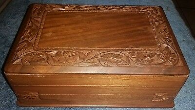 """Vintage Hand Carved Secret Lock Cigarette or Jewelry Trinket Box -""""AWESOME COND"""""""