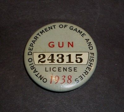 "VINTAGE 1938 Ontario ""Gun License, Ontario Department of Game and Fisheries"