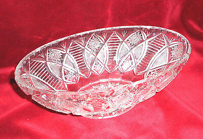 CRYSTAL VASE 1970s Poland LEAD OVAL BOAT.