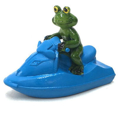 Floating Frog on Jet Ski Ornament Figurine Garden Pond