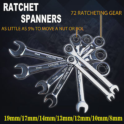 8-19mm Ratchet Spanners Metric 7pc Set Chrome Vanadium Steel 72 Geared wrench