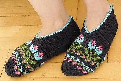New Turkish %100 Merino Wool Hand Knitted Women Socks-Patik-Winter-One Size-Gift