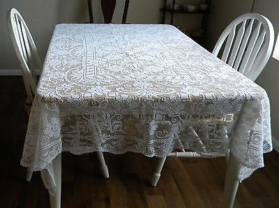 """Antique Italian Filet Floral Lace Tablecloth  82"""" x 64"""" Italy"""