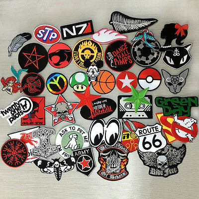 Applique Patches Clothing 24pcs Mixed Wholesale Random Sport America Iron  Sew