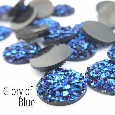 10 x Druzy 10mm Cabochon in AB Glory of Blue  Perfect for Earrings. #19