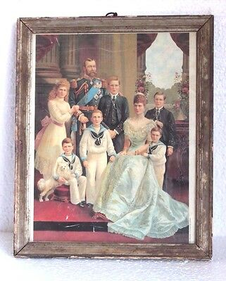 1900's Old Vintage Antique British Family Print with Frame Home Decor Y55