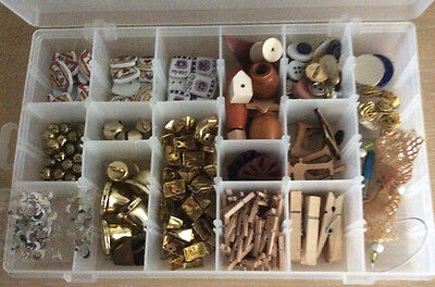 250 + Asst Embellishments Buttons Bells Charms Beads Pegs & Storage Box
