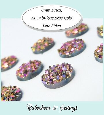 10 x Druzy 8mm Cabochon in AB Shades of Rose Gold  Perfect for Earrings. #08