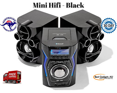 Mini Hifi - Black System Stereo Component Home LED CD Player, FM Radio Bluetooth