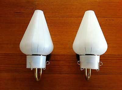 Vintage Retro 1950s Mid-Century - Wall Light Sconce Glass - Pair