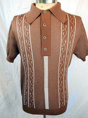 Vintage 1960s 70s Brown Patterned Polyester Mod Style Polo Shirt Medium