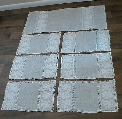 Antique Italian Linen HandWoven Embroidered Runner Placemats Napkins Winged Lion