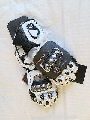 New Dainese Full Metal D1 Leather Race Motorcycle Gloves White Black S Small