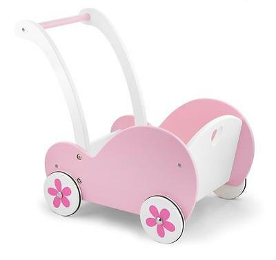 NEW Viga Toys Traditional Pink Wooden Dolls Buggy Pram Stroller