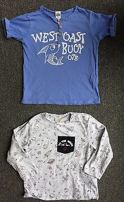 Two Zara Baby Boys T Shirts 18-24 Months To The Moon Back Blue Long Short Summer