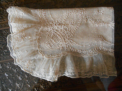 Vntg.antique Table Center Piece Square Fabric Lace Hand Made Embroidered  1880