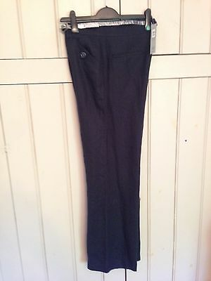 BNWT M&S Per Una Linen Trousers Size14R Navy RRP £39.50 Roma Fit