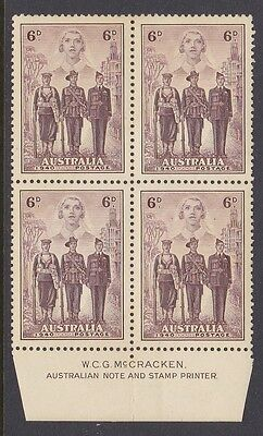 AUSTRALIA 1940 6d BROWN ARMED FORCES IMPRINT BLOCK OF 4 MINT UNHINGED