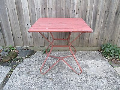 Outdoor garden table. Steel frame with timber slats.